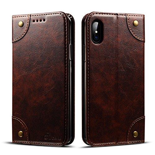 KANTAS Leder Brieftasche Hülle für iPhone X Wallet Case Handy Schutzhülle für iPhone X Braun mit...