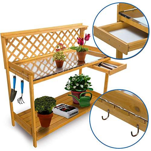 nxtbuy Table de rempotage avec Surface de Travail en métal galvanisé 110 x 50 cm - Table de Jardin en Bois imprégnée résistant aux intempéries - avec tiroir et 2 Crochets