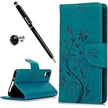 BQ Aquaris X5 Funda, BADALink funda piel Cuero PU original para BQ Aquaris X5 Estilo del Libro Flip Protective Case Cover (soporte Function, Ranuras para Tarjetas y Billetes), diseño vid de la flor, Azul + Stylus Pen y Enchufe del polvo