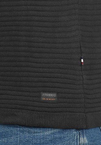 PRODUKT Perro Herren Strickpullover Feinstrick Pulli mit Rundhals-Ausschnitt aus hochwertiger Baumwolle Dark Grey Melange