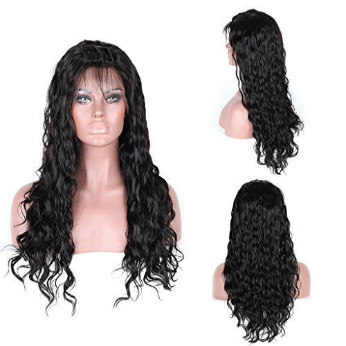 Andria Hair Water Wave Human Hair Wigs Natural Black 100% Brazilian Virgin Hair Lace Front Wigs for Black Women with Baby Hair and Bleached Knots (22\