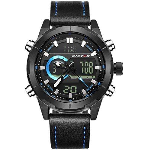 ristos Herren Sport Quarz Armbanduhr schwarz Leder Strap Kristall Saphirblau blau Leuchtzeiger Wasserdicht 30meter Outdoor Style