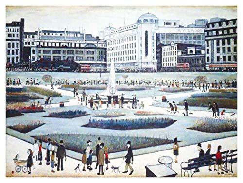 Matchstick Garden (JH Lacrocon Gemälde Handgemalt Piccadilly Gardens von L. S. Lowry - 120X90 cm Landschaft Leinwand Bilder Gerollte Reproduktionen Kunst Matchstick Men Marionette Poster)