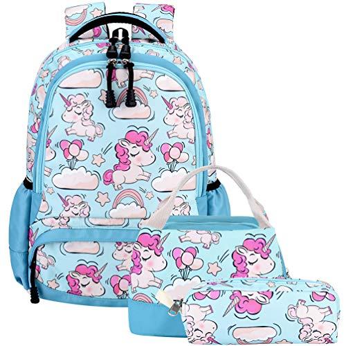 Vbiger Mochilas Escolares Niña Unicornio Mochila Infantil Adolescentes Sets 3 en 1 para 7 a 16 Años (Azul)