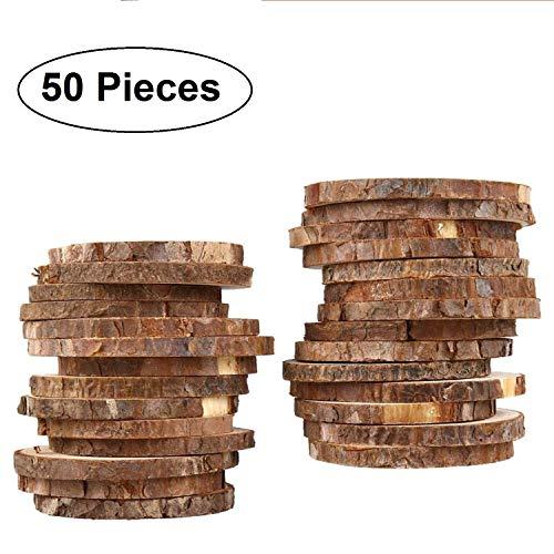 Holzscheiben 50 pcs - Größe 3-5cm Durchmesser & 5mm Dicke - Naturholz Scheiben Rustikale Holzscheiben mit Rinde und Glatter Oberfläche - Baumscheiben für Kunsts, Handwerk, Dekoration und Zum Basteln
