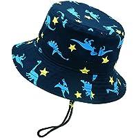 Happy Cherry - Sombrero de Pescador para Niños Niñas Algodón Transpirable de Protectora del Sol al Aire Libre para Primavera Verano Otoño - Azul/Dinosaurio