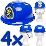 Neu: 4 x Polizei-Helme für Kinder | Verkleidung zum Polizei-Kindergeburtstag, Fasching und Mottoparty | Jedes Polizisten-Kind liebt Diese Helme!