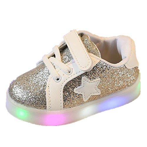 FNKDOR 1-6 Jahre Unisex Baby Junge Mädchen LED Licht Mode Star Sneaker Kinder Kleinkind Schuhe (30 Fußlänge:19CM, Silber)