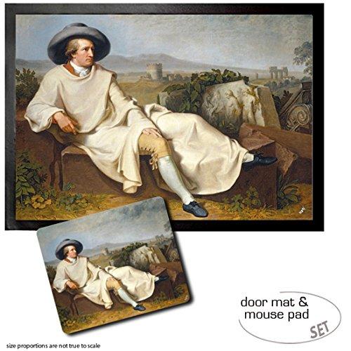 1art1 Johann Heinrich Wilhelm Tischbein, Goethe In Der Campagna, 1787 Fußmatte Türmatte (70x50 cm) + Mauspad (23x19 cm) Geschenkset