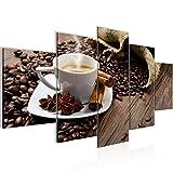 Bilder Küche Kaffee Wandbild 200 x 100 cm Vlies - Leinwand Bild XXL Format Wandbilder Wohnzimmer Wohnung Deko Kunstdrucke Braun 5 Teilig -100% MADE IN GERMANY - Fertig zum Aufhängen 501851a