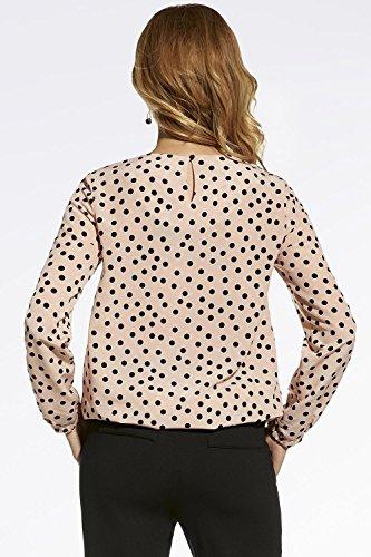 Ennywear 220027 Bluse Damen Gepunktet Knöpfbar Rundausschnitt Langarm Top Qualität EU Pink