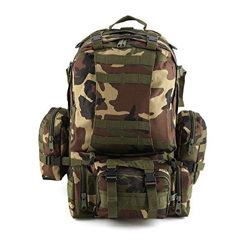 MultiWare Armée Sac à Dos Tactique Militaire 50L Sac Randonnée Camping Voyage Sac de Sport Etanche Rucksacks militaires Bois Camouflague