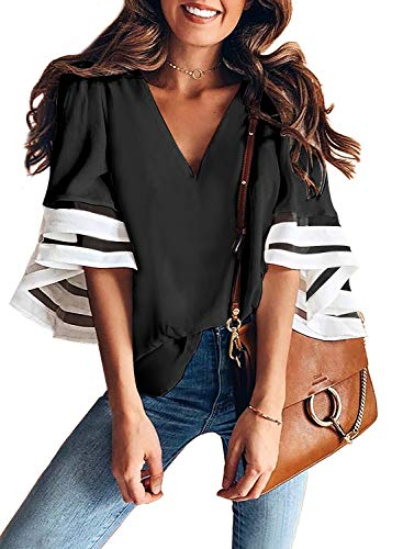 Aleumdr Bluse Damen v Ausschnitt Langarm Tunika Elegant Hemdbluse mit Blumen Top Oberteil Shirt für Sommer Loose Vintage Weiß L -