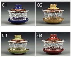 GENERIC 08 : Glass gai wan teaset kungfu Tea Sets Dehua gaiwan tea porcelain teapot tea set for travel Beautiful easy kettle