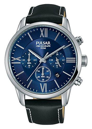 Pulsar Herren Chronograph Quarz Uhr mit Leder Armband PT3809X1
