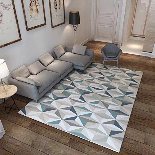 Ommda tappeti Salotto Soggiorno Moderni Home 3D Geometric Printing tappeti  Soggiorno Pelo Corto Antiscivolo Lavabili 120x160cm 9mm