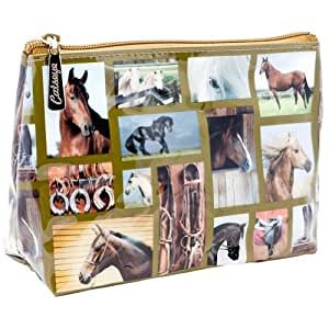 Animal World - Variety Horses Square Collage Gallery Small Cosmetic Bag