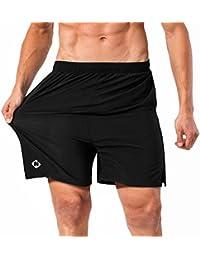 Naviskin Pantalones Cortos para Hombres Deporte Secado Rápido con Bolsillos de Cremallera Cordón Ligero Transpirable Elástica 13cm Entrepierna