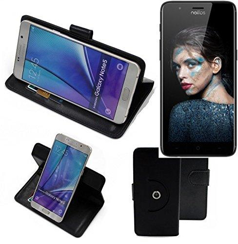 K-S-Trade® Hülle Schutzhülle Case für TP-LINK Neffos N1 Handyhülle Flipcase Smartphone Cover Handy Schutz Tasche Bookstyle Walletcase schwarz (1x)