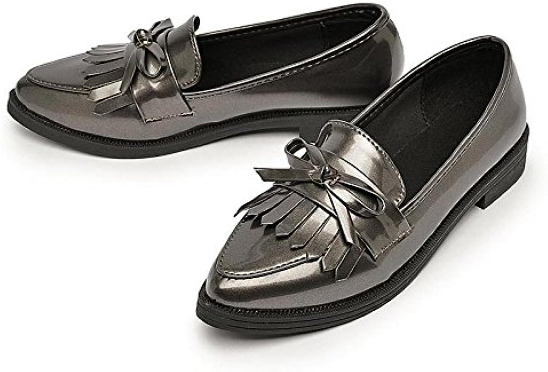 Zapatos de mujer punta Leather-Su pequeño salón del estudiante solo zapatos, Gun-Color 35