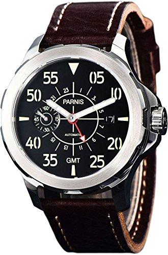 PARNIS 2153 GMT sportliche Herren-Automatikuhr 44mm Markenuhrwerk Seagull Saphirglas Edelstahl-Gehäuse Lederarmband 5 Bar wasserdicht