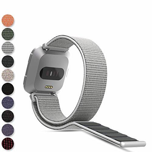 Feskio para Fitbit Versa Smartwatch Loop, Correa de Nailon Tejido, Cierre de Velcro, Correa de muñeca, Correa de Repuesto para Reloj Fitbit Versa, Color Gris