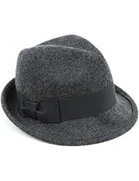 b3c0667ea8ac4 Hawkins Wool trilby hat charcoal grey wide black band side bow soft felt