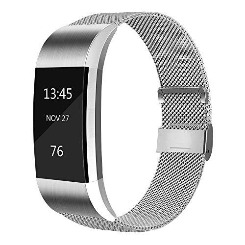 AK Für Fitbit Charge 2 Armband (2 Größen), Metall Mesh Magnetverschluss Edelstahl Ersatzband für Fitbit Charge 2 (Silber, Small)