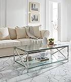 Dugarhome - Mesas de Centro Modernas - Mesa Acero/Cristal (120x60)
