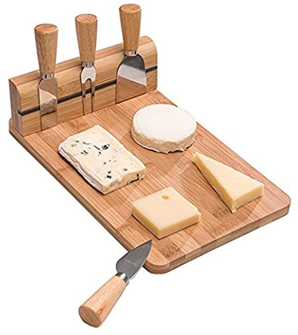 5-teiliges Bambus Servierbrett Käsemesser Käsebrett Set mit Besteck 29,7 x 19,9 x 8,5 cm