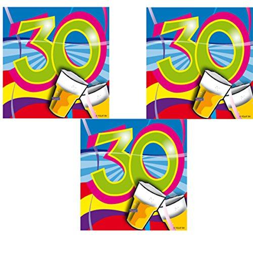 berlin-ballons 3er Pack Servietten 60 Stück Zahl 30 zum Geburtstag Party