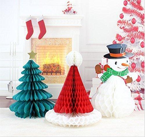 URGrace 3 Stücke Weihnachtsbaum Hut Schneemann Papier Honeycomb Ball Banner Flagge Weihnachtsfeier DIY Dekorationen Weihnachten Anhänger Drop Ornamente Lieferungen -