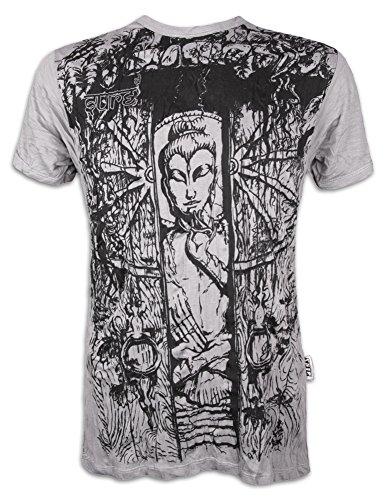 Sure Herren T-Shirt Meditierender Buddha Das Rad des Lebens Goa Buddhismus Yoga Guru (Hellgrau XL)