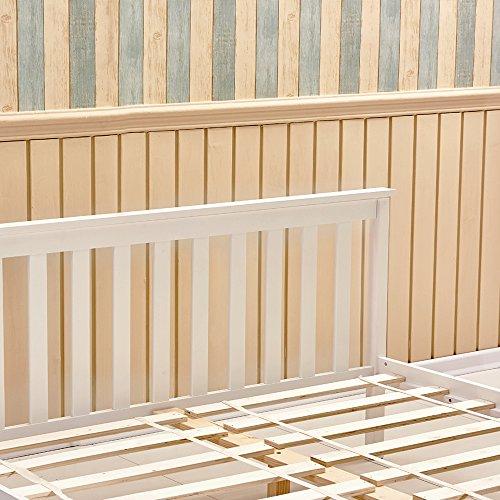 Tason Modern Design Wooden Bed Frame, Solid Pine Wood Kingsize Bedstead for Bedroom, Kids Furniture or Guest Room (5FT, White)