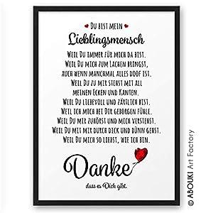 DANKE Liebeserklärung Danksagung ABOUKI Kunstdruck Poster Bild Geschenk-Idee für Sie Ihn Frauen Männer Freund Freundin…