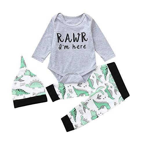MIRRAY Weihnachten Overall Infant Baby Mädchen Jungen Brief Cartoon Dinosaurier Gedruckt Strampler Hosen Kleidung Einstellen