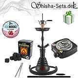 Shisha Set mit Shisha Amy 4-Stars 410/440, Kohleanzünder, Dampfsteine, Naturkohle, Kaminaufsatz und eine kleine Überraschung … (440D - Schwarz/Schwarz-Matt)