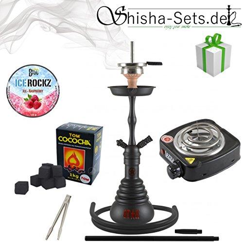 Shisha Set mit Shisha Amy 4-Stars 410/440, Kohleanzünder, Dampfsteine, Naturkohle, Kaminaufsatz und eine kleine Überraschung ... (440D - Schwarz/Schwarz-Matt)