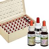 Set mit 40 Edis Bio Bachblüten 20ml, konserviert mit Bio Alkohol. In Holzbox.