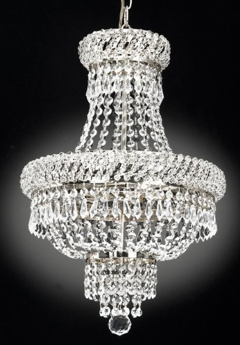 EMPIRE CRYSTAL CHANDELIER Chandeliers Lighting H 55.88cm W 38.01cm 3 Lights Silver