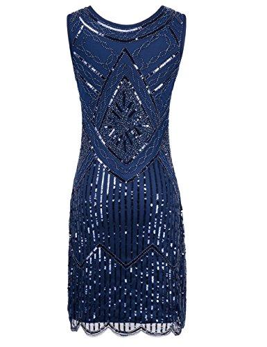 Kayamiya Damen 1920er Pailletten Fransen Perlen Gatsby Flapper Abendkleid Blau