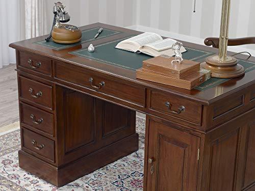 Simone Guarracino Partner Schreibtisch Victorian Englischer Stil Büro Doppelschreibtisch 130 cm walnuss Kunstleder grün (Schreibtisch Partner)