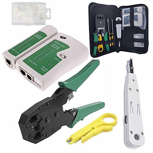 JUSTOP Profi-Set, RJ45-Ethernet-Netzwerkkabel-Tester, Crimpzange, Abisolierer, Schneidewerkzeug, Auflegewerkzeug und Schraubendreher, mit 10 RJ11-/RJ45-Steckern und praktischem Etui Pro Kit 2 (Kit Battery Tool Crimp)