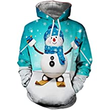 Herren Hoodie,TWBB Winter Weihnachten Schneemann 3D Mantel Mit Kapuzen Pullover Warme Sweatshirt Slim-Fit Lange Ärmel Oberteile