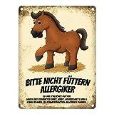 trendaffe - Metallschild mit Pferde Motiv und Spruch: Bitte Nicht füttern - Allergiker