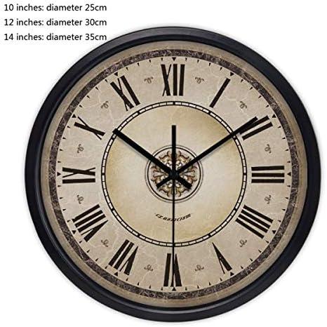 DollylaStore Horloge Murale Style américain américain américain créatif rétro Horloge à Quartz en métal muet Salon Chambre Moderne (10 Pouces, 12 Pouces, 14 Pouces Emballage de 1) (Couleur: Noir, Taille: 14 Pouces) f2f29a