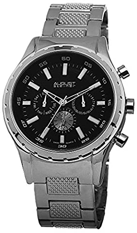 August Steiner Men's AS8105SSB Swiss Quartz Multifunction Black Dial Silver-tone Bracelet Watch