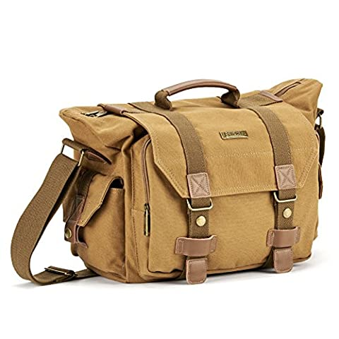 Vintage Canvas Camera Bag, Evecase Large Messenger DSLR Digital Camera Bag w/ Rain Cover, Tablet/Laptop Compartment, Removal padded insert and Shoulder Strap -