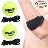 Tennis Elbow Brace + 2 Pcs Tennis Ball With String,Tennis & Golfer's Elbow Strap Band with Compression Pad,Professional Training Tennis Ball