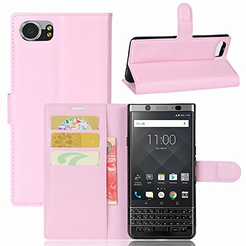 Guran® PU Ledertasche Case für BlackBerry KEYone Smartphone Flip Deckung Standfunktion und Karte Slot Telefonkasten Etui-rosa